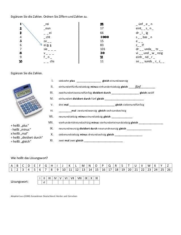 Ergänzen Sie die Zahlen. Ordnen Sie Ziffern und Zahlen zu. 1 _rei 24 _ ünf _ e _ n 2 _eun 17 eint_ _ s_ n _ 3 _ _ ei 66 dr...