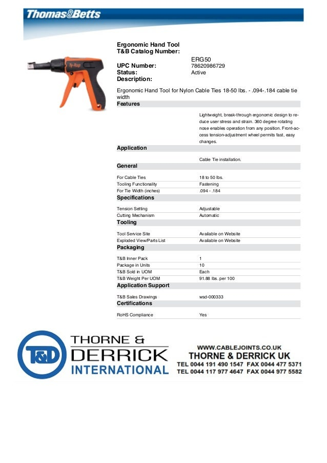 697ab4644d24 Thomas & Betts ERG50 & ERG120 Ergonomic Hand Tools For Nylon Cable Ties