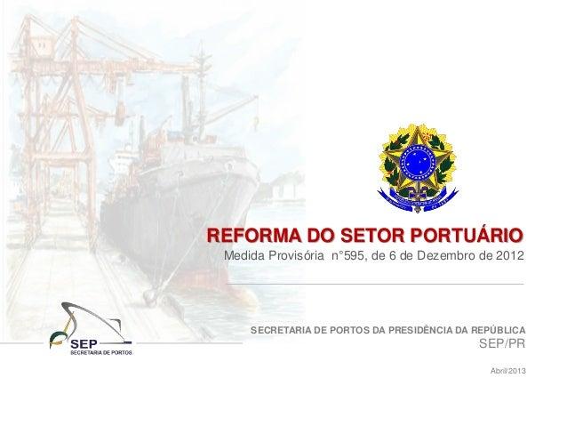 SECRETARIA DE PORTOS DA PRESIDÊNCIA DA REPÚBLICA SEP/PR Abril/2013 REFORMA DO SETOR PORTUÁRIO Medida Provisória n°595, de ...
