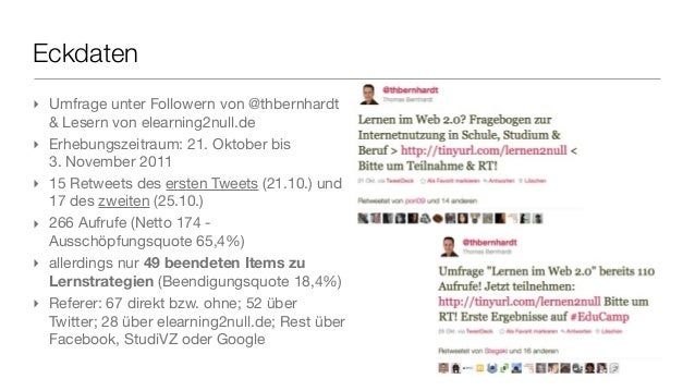 Eckdaten ‣ Umfrage unter Followern von @thbernhardt & Lesern von elearning2null.de ‣ Erhebungszeitraum: 21. Oktober bis 3....