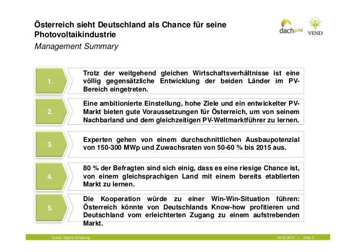 Österreich sieht Deutschland als Chance für seinePhotovoltaikindustrieManagement Summary                      Trotz der we...