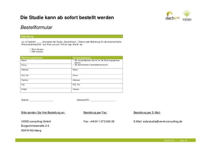 """Die Studie kann ab sofort bestellt werdenBestellformularBestellung:Ja, ich bestelle ______ Exemplare der Studie """" Deutschl..."""