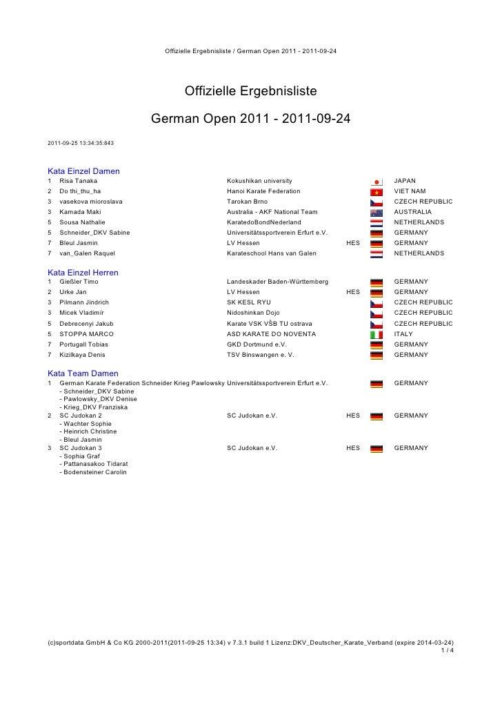 Offizielle Ergebnisliste / German Open 2011 - 2011-09-24                                           Offizielle Ergebnislist...