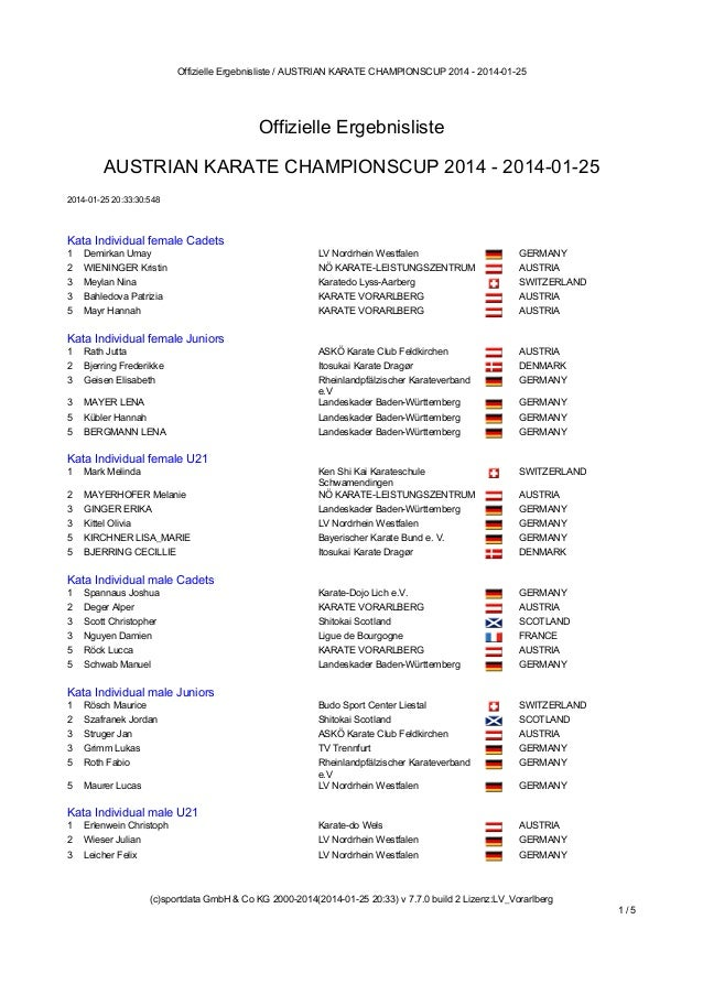 Offizielle Ergebnisliste / AUSTRIAN KARATE CHAMPIONSCUP 2014 - 2014-01-25  Offizielle Ergebnisliste AUSTRIAN KARATE CHAMPI...