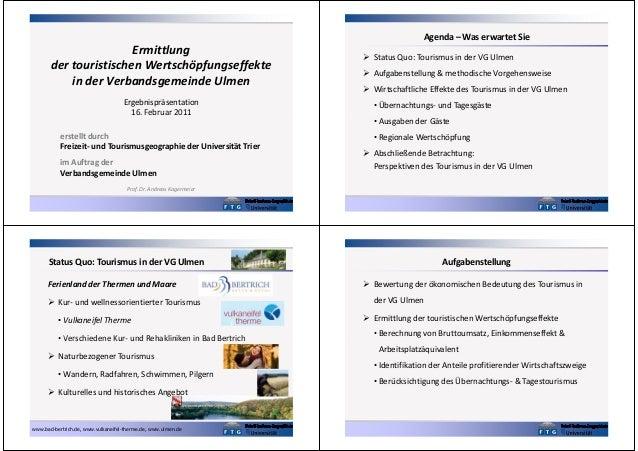 Agenda – Was erwartet Sie  Ermittlung der touristischen Wertschöpfungseffekte in der Verbandsgemeinde Ulmen Ergebnispräsen...