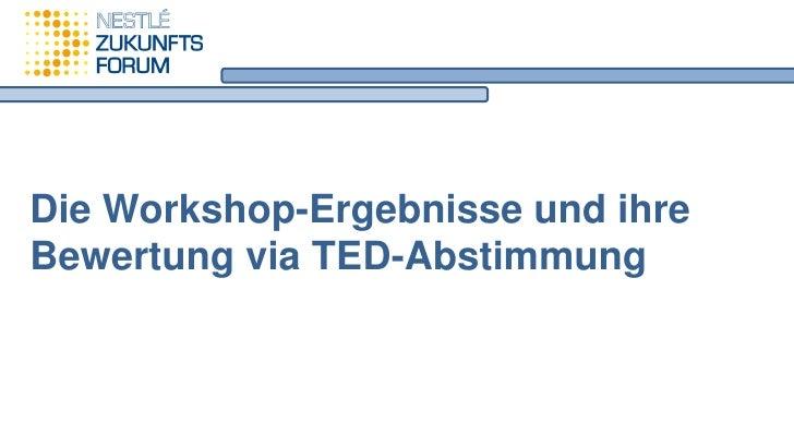 Die Workshop-Ergebnisse und ihreBewertung via TED-Abstimmung