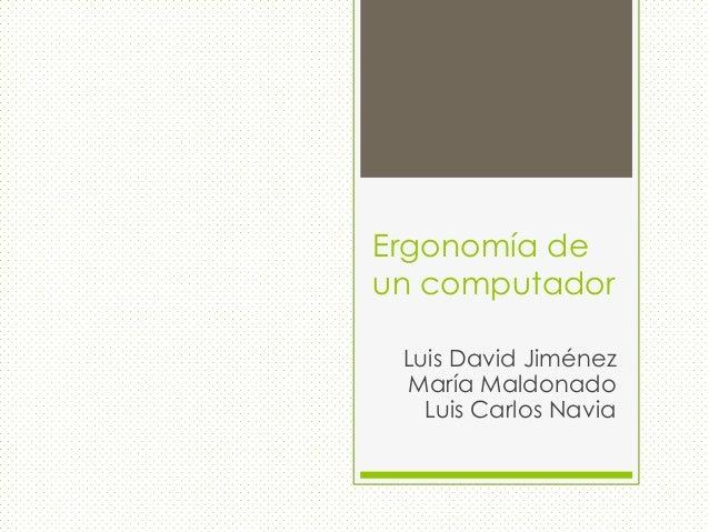 Ergonomía de un computador Luis David Jiménez María Maldonado Luis Carlos Navia