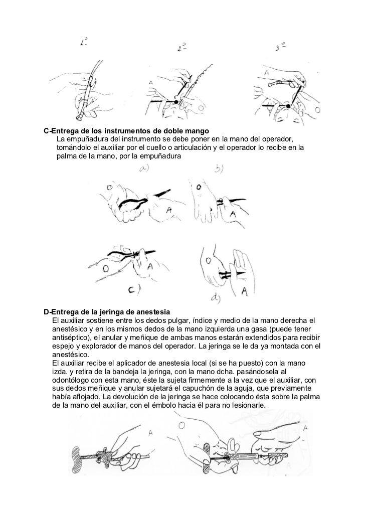 C-Entrega de los instrumentos de doble mango   La empuñadura del instrumento se debe poner en la mano del operador,   tomá...