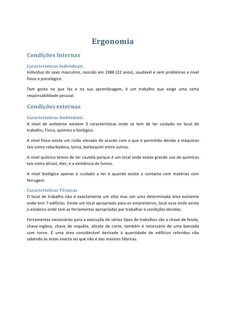 Ergonomia<br />Condições Internas<br />Características Individuais<br />Indivíduo do sexo masculino, nascido em 1988 (22 a...