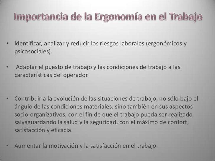 Ergonomia presentacion for Caracteristicas de la ergonomia
