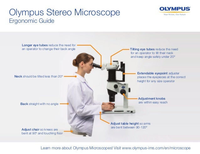 Olympus Stereo Microscope Ergonomic Guide Learn more about Olympus Microscopes! Visit www.olympus-ims.com/en/microscope Ba...