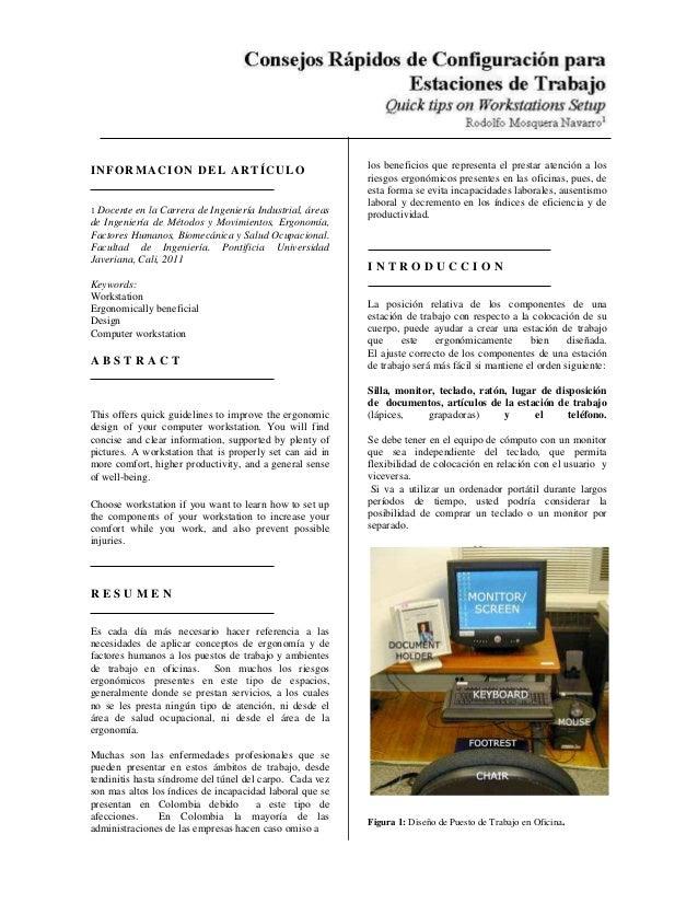 INFORMACION DEL ARTÍCULO 1 Docente en la Carrera de Ingeniería Industrial, áreas de Ingeniería de Métodos y Movimientos, E...