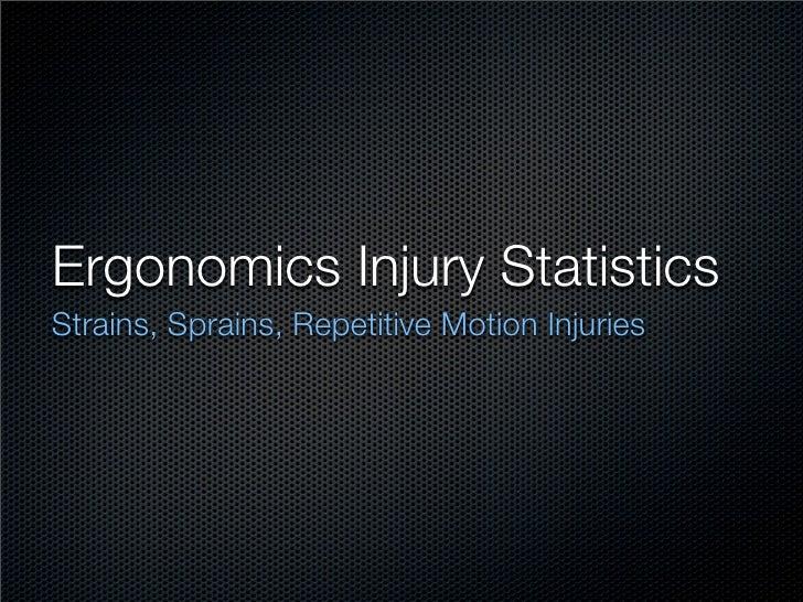 Ergonomics Injury Statistics Strains, Sprains, Repetitive Motion Injuries