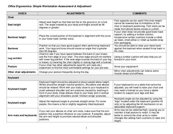 Office Ergonomics: Simple Workstation Assessment & Adjustment           CHECK                                     ADJUSTME...