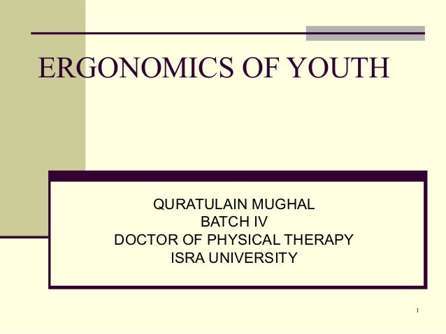 1 ERGONOMICS OF YOUTH QURATULAIN MUGHAL BATCH IV DOCTOR OF PHYSICAL THERAPY ISRA UNIVERSITY