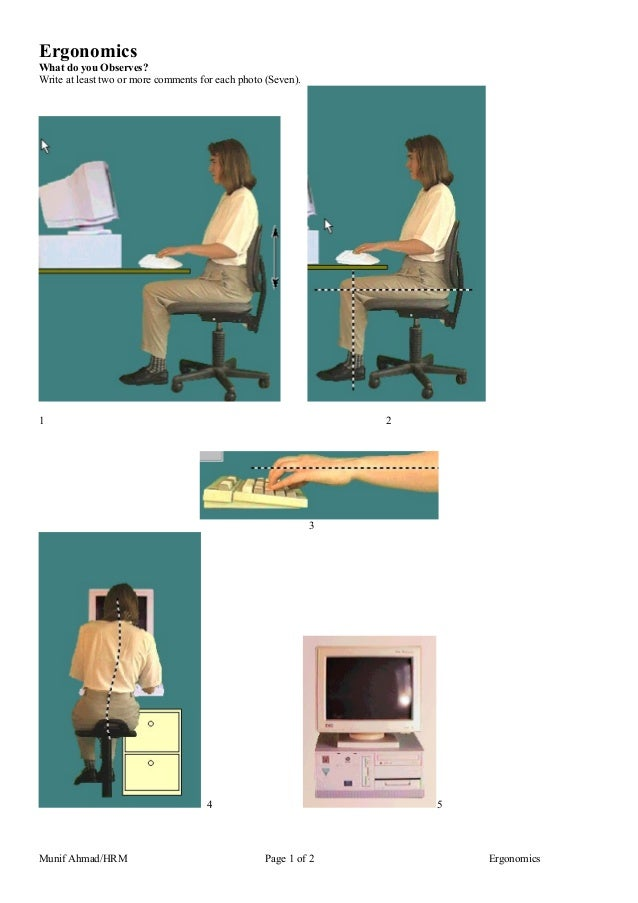 Ergonomics What do you Observes? Write at least two or more comments for each photo (Seven). 1 2 3 4 5 Munif Ahmad/HRM Pag...
