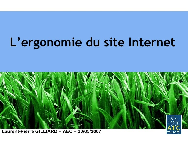 L'ergonomie du site Internet   Laurent-Pierre GILLIARD – AEC – 30/05/2007