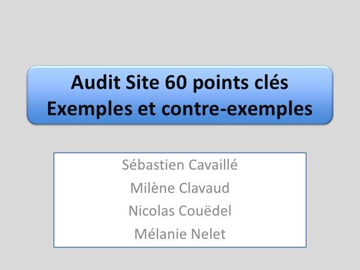 Audit Site 60 points clésExemples et contre-exemples<br />Sébastien Cavaillé<br />Milène Clavaud<br />Nicolas Couëdel<br /...