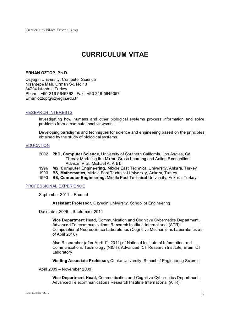 Curriculum vitae: Erhan Oztop                                   CURRICULUM VITAEERHAN OZTOP, Ph.D.Ozyegin University, Comp...