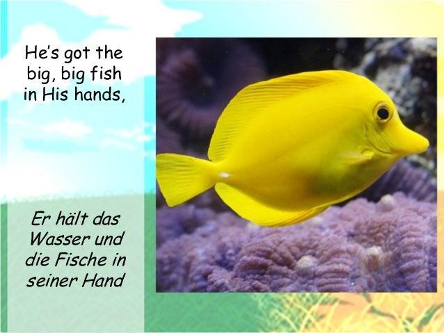 He's got the big, big fish in His hands, Er hält das Wasser und die Fische in seiner Hand