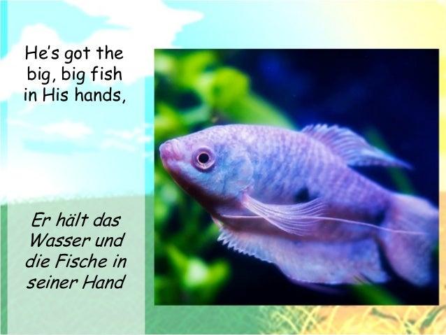 He's got the big, big fish in His hands, He's got the whole world in His hands Er hält das Wasser und die Fische in seiner...