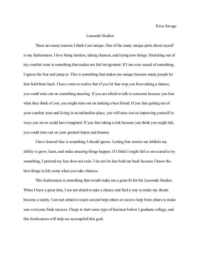 Erica Savage Lassonde Studios Application Essay Erica Savage Lassonde  Studios There Are Many Reasons I Think