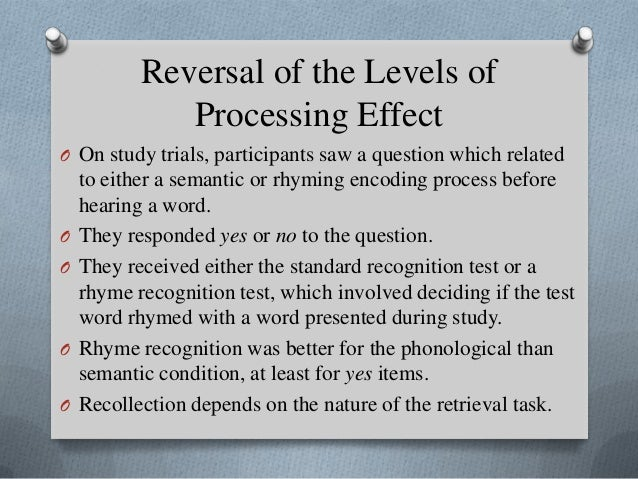 lop effect on memory types Specify the types of information activated by each encoding condition, the  that  early reports of no effects of lop on implicit memory involved perceptual tests.