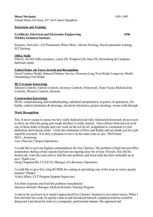 eric charters resume