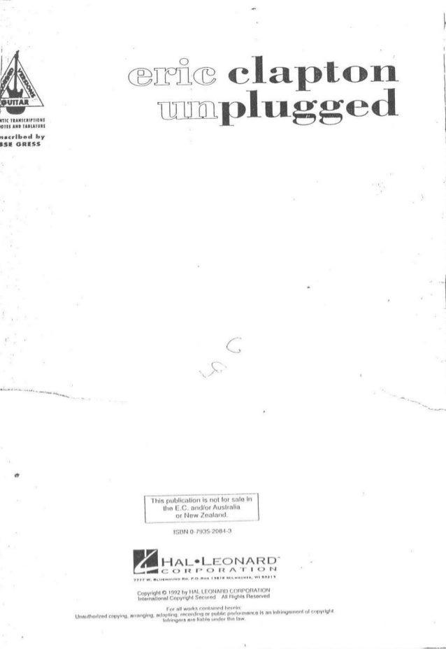Eric Clapton Unplugged Tab Book