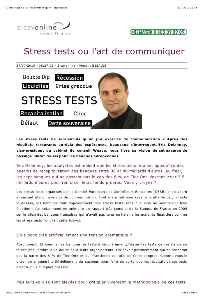 Stress tests ou l'art de communiquer - Sicavonline                                                  27/07/10 22:38        ...