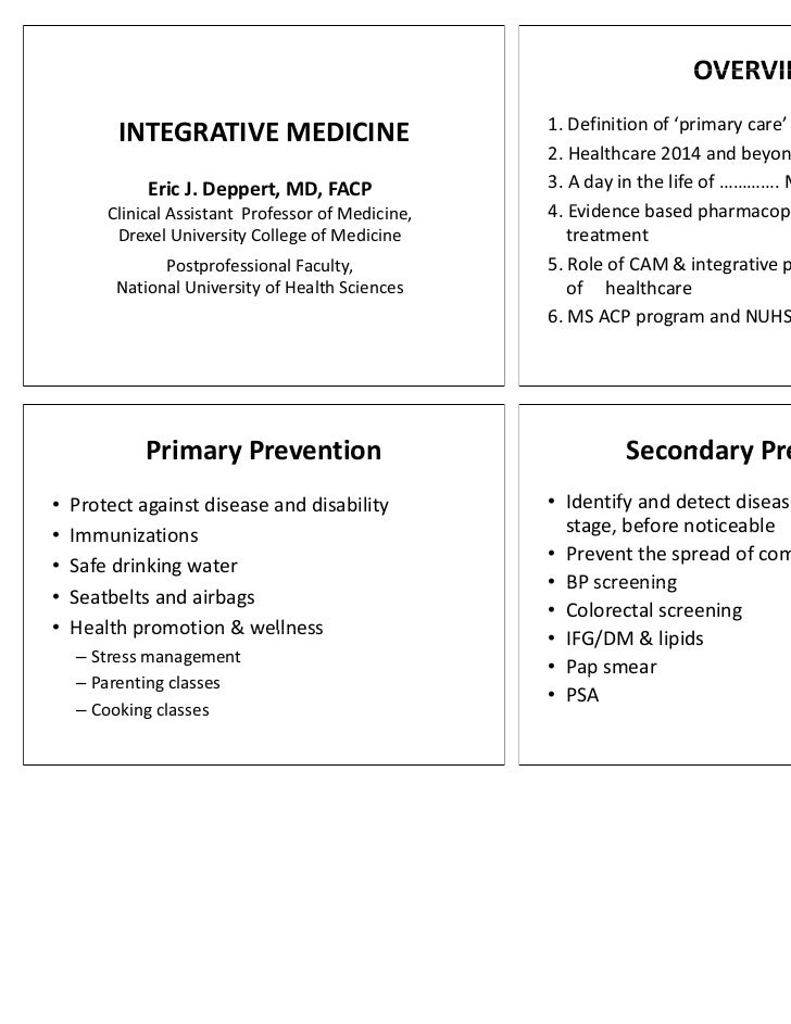 OVERVIEW                                                    1. Definition of 'primary care'         INTEGRATIVE MEDICINE  ...