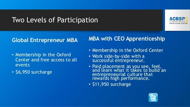 Two Levels of Participation Global Entrepreneur MBA • Membership in the Oxford Center and free access to all events • $6,9...