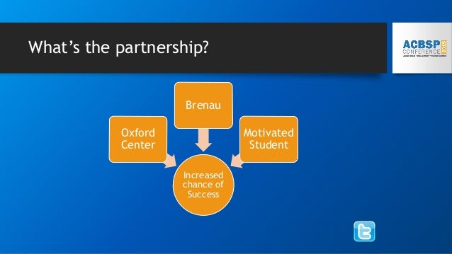What's the partnership? Increased chance of Success Oxford Center Brenau Motivated Student