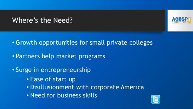 Where's the Need? • Growth opportunities for small private colleges • Partners help market programs • Surge in entrepreneu...