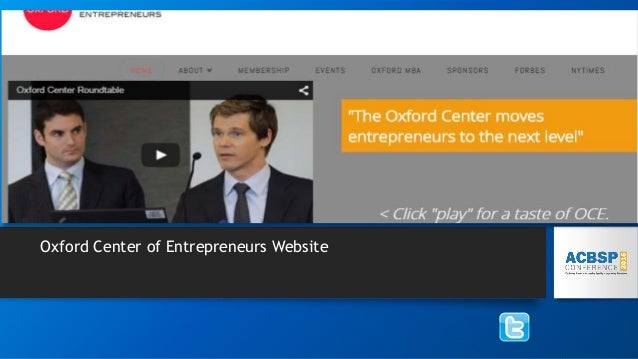 Oxford Center of Entrepreneurs Website