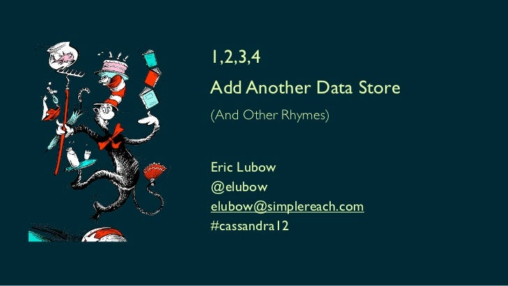 1,2,3,4Add Another Data Store(And Other Rhymes)Eric Lubow@elubowelubow@simplereach.com#cassandra12