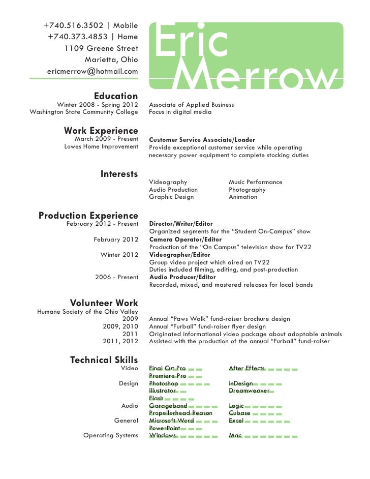 Eric Merrow Resume and Portfolio