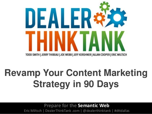 Revamp Your Content Marketing Strategy in 90 Days Prepare for the Semantic Web Eric Miltsch | DealerThinkTank .com | @deal...