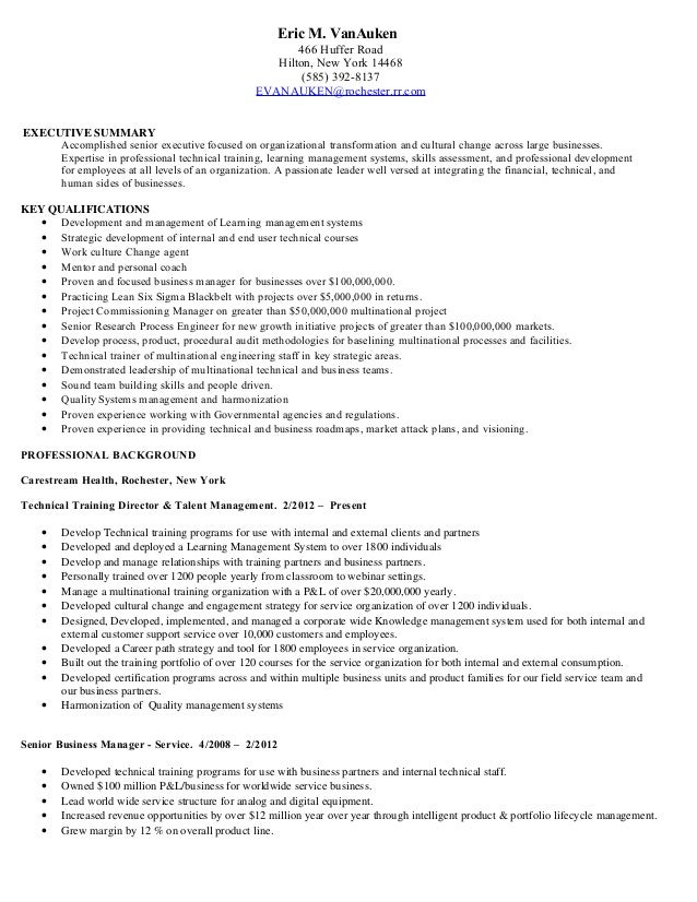 eric vanauken executive summary resume