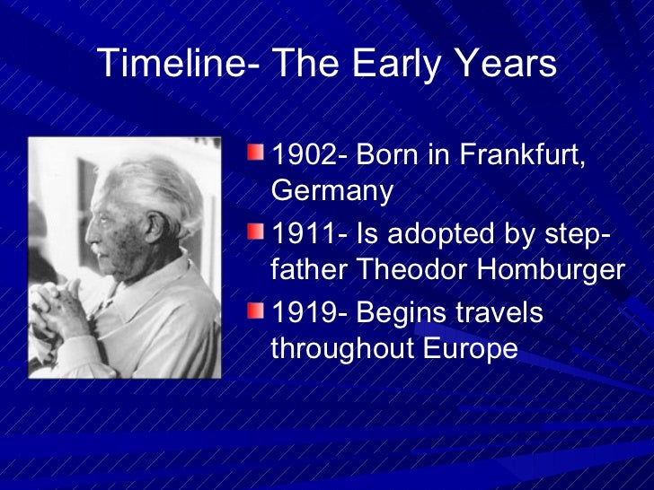 erick erickson timeline theory Erick erickson timeline theory university of phoenix psy 230 this assignment is based on erik erikson's 8 stages of psychosocial development theory of life.