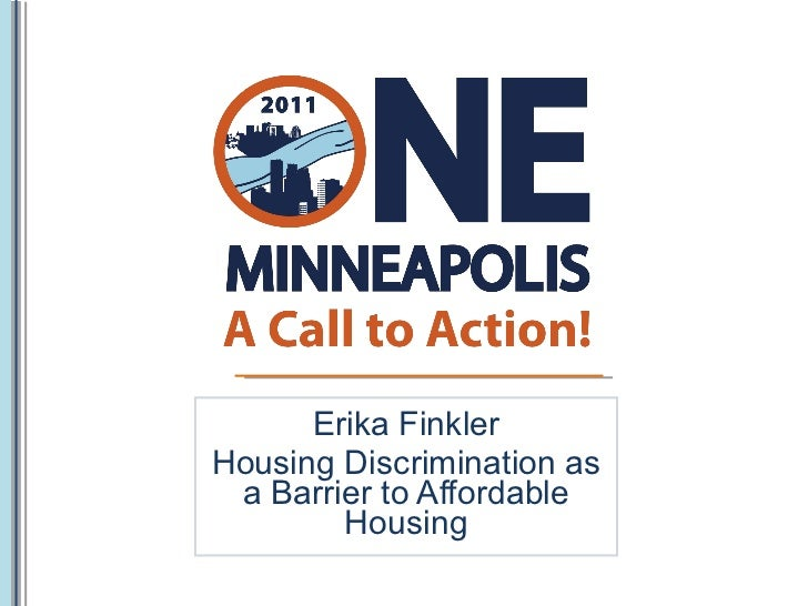Erika Finkler Housing Discrimination as a Barrier to Affordable Housing