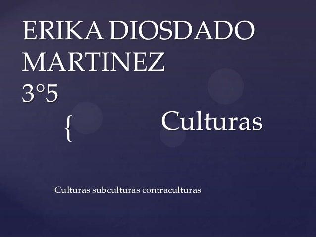 ERIKA DIOSDADOMARTINEZ3°5    {    Culturas  Culturas subculturas contraculturas