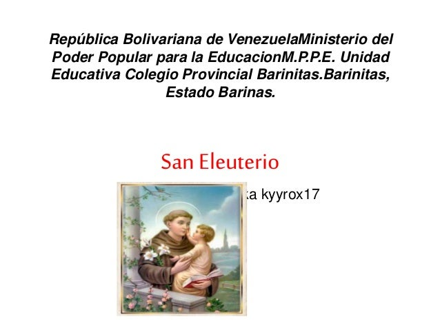 República Bolivariana de VenezuelaMinisterio del Poder Popular para la EducacionM.P.P.E. Unidad Educativa Colegio Provinci...