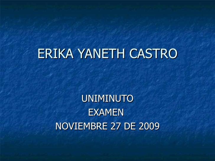 ERIKA YANETH CASTRO UNIMINUTO EXAMEN  NOVIEMBRE 27 DE 2009
