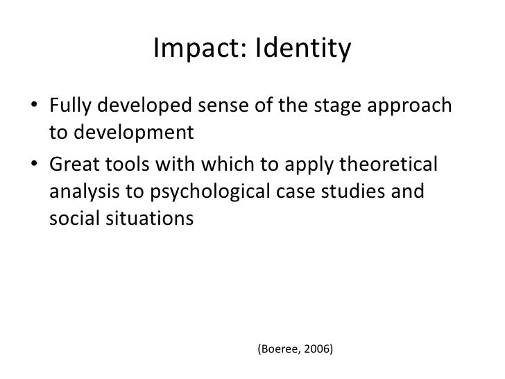 """a case study of eriksons theory and marcias additional advancements apply to identify formation Tuses and provides a brief overview of studies into antecedent, concur- rent, and   of the identity status paradigm to other models of identity the rooted- ness of  the identity statuses in erikson's concept of identity versus iden-  statuses—on  which much current identity theory  exploration (originally called """"crisis"""" marcia ."""
