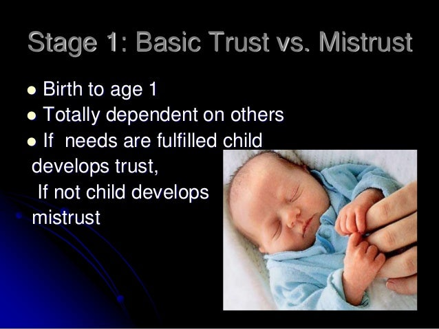 trust vs mistrust Concept of trust as set forth in eric erikson's and louise kaplan's theories  trust  vs mistrust after a life of rhythmic regularity, warmth and.