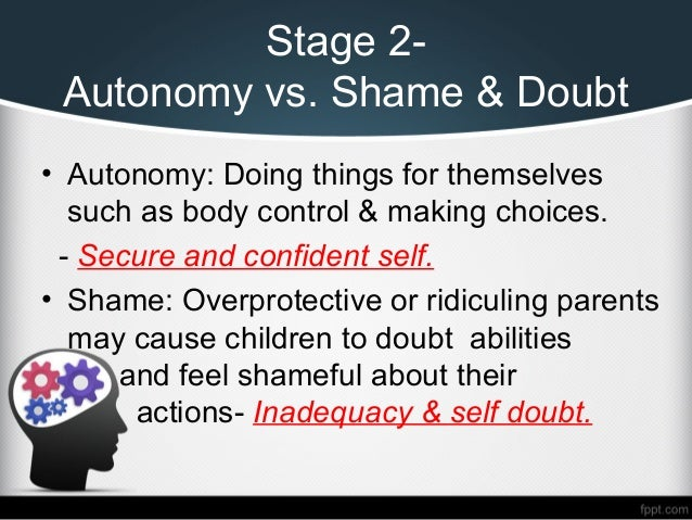autonomy vs shame and doubt eriksons stages of development Erikson's second stage of development is known as the stage of autonomy vs shame and doubt the most crucial ego strength that should be gained during this stage is that of independence.