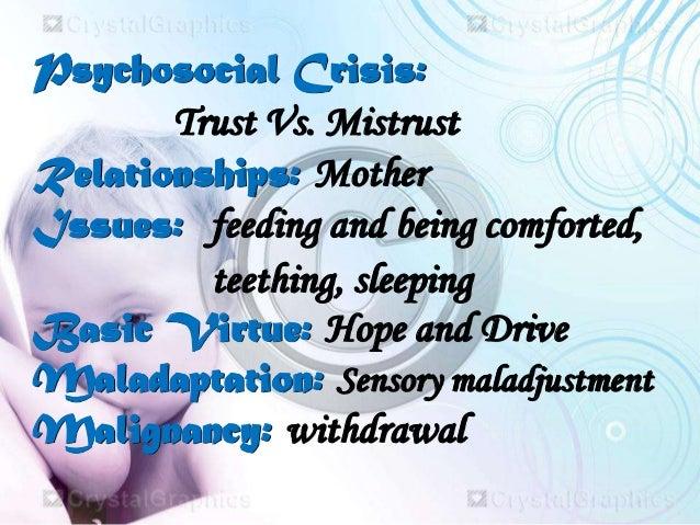 trust vs mistrust erikson essays According to erikson and erikson (1997), individuals encounter eight stages of  psychosocial crises : basic trust versus basic mistrust autonomy.
