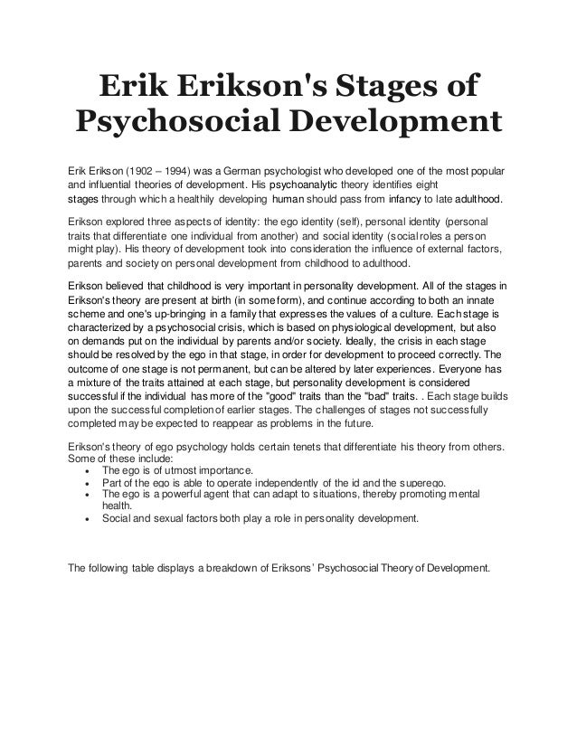 erik erikson stages of personality development Key concepts erikson's psychosocial theory of development considers the impact of external factors, parents and society on personality development from childhood to adulthood according to erikson's theory, every person must pass through a series of eight interrelated stages over the entire life cycle.