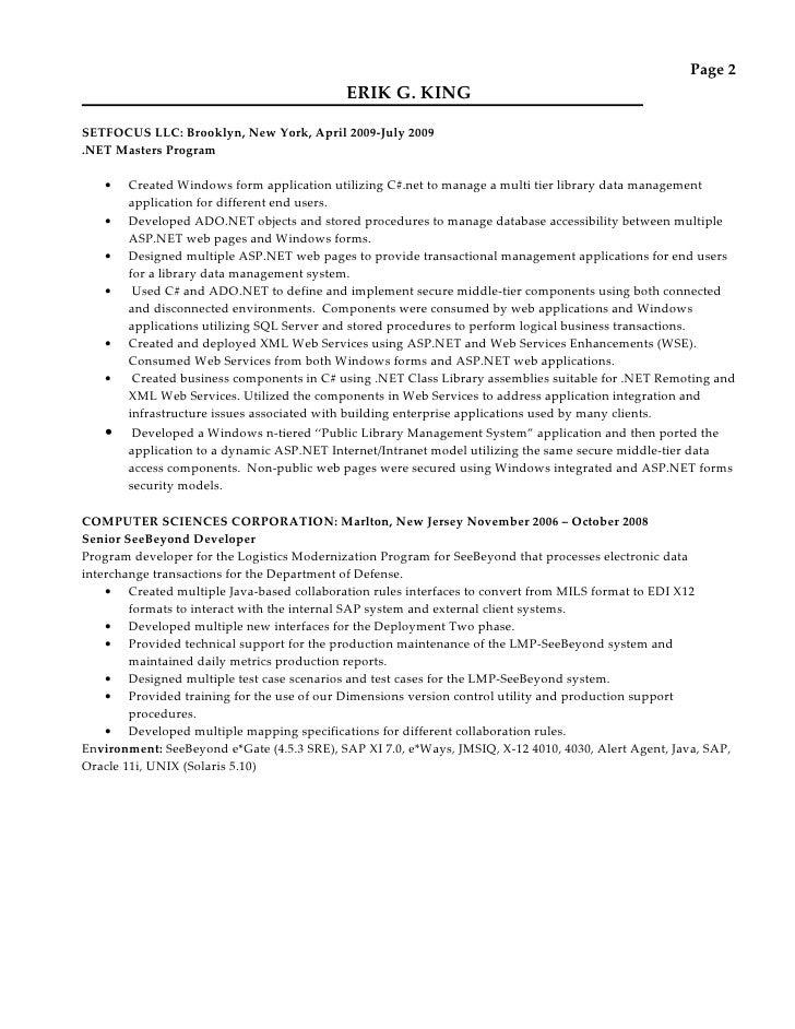 erik king resume 072010
